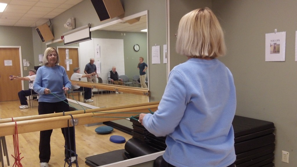 Woman with Parkinson's exercising