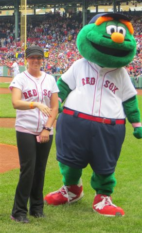 """Wally"" introduces Christie at the Mother's Day Red Sox game"