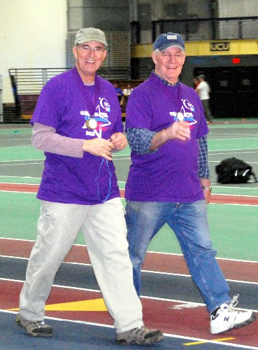 Den Morton begins the survivor's lap at the 2013 Gorham Relay for Life.