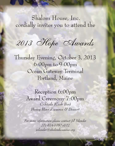 Shalom House Hope Awards invitation 2013