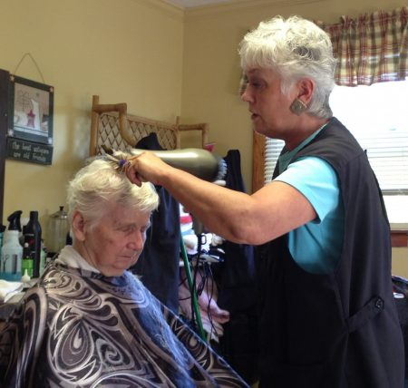 Diane's mother getting her hair dried