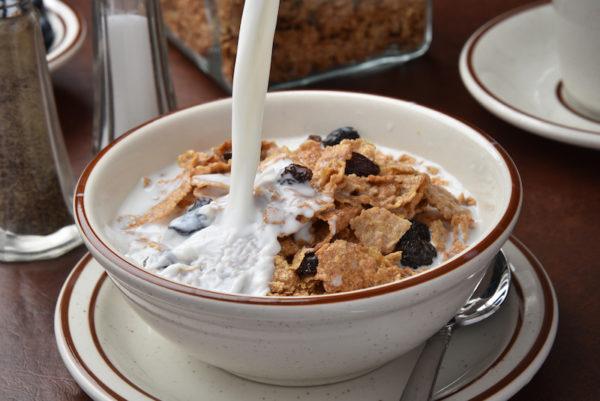 Bowl of raisin bran/salt