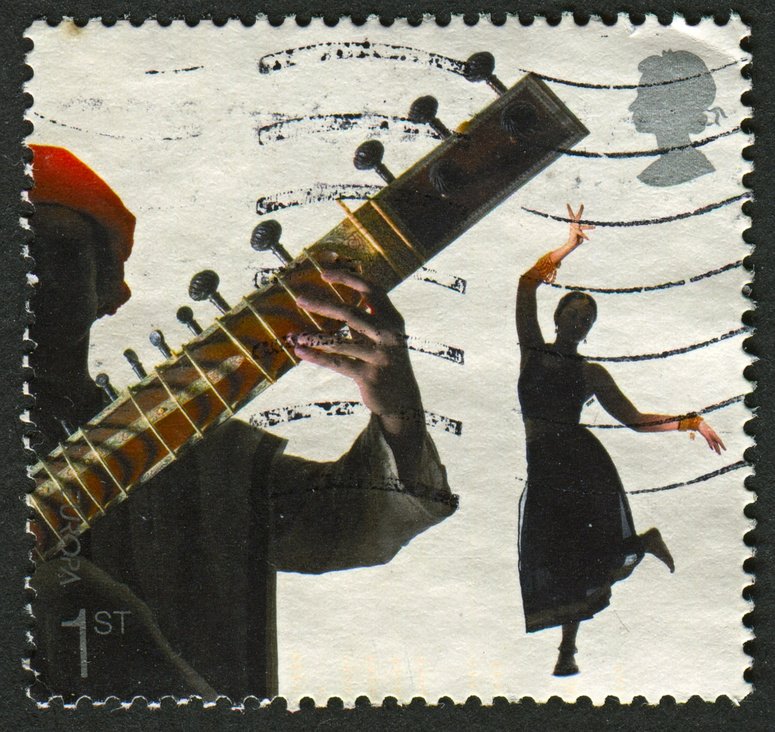 Postage stamp with woman dancing