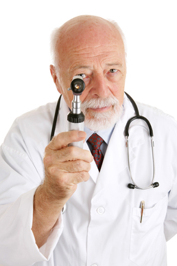 Doctor with otoscope