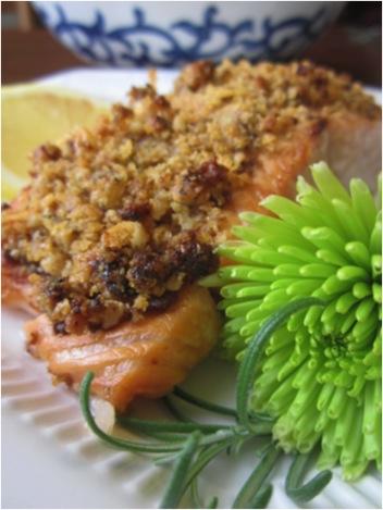 Walnut encrusted salmon