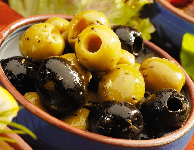 Bowl of marinated olives