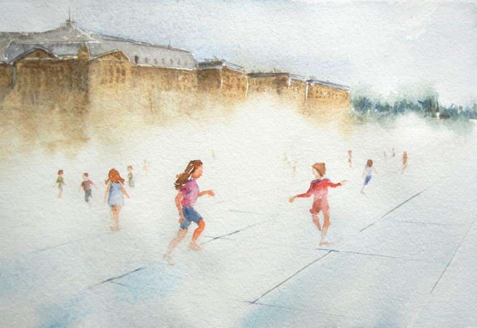 Mist Park - Bordeaux, France - watercolor