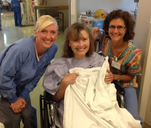 Diane with nurses Lauren and Elizabeth