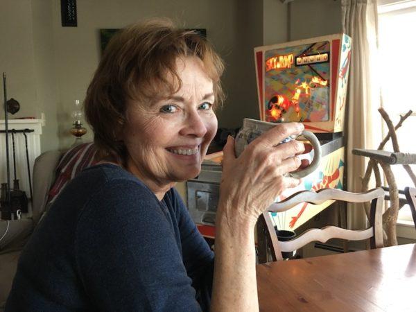 Diane drinking coffee