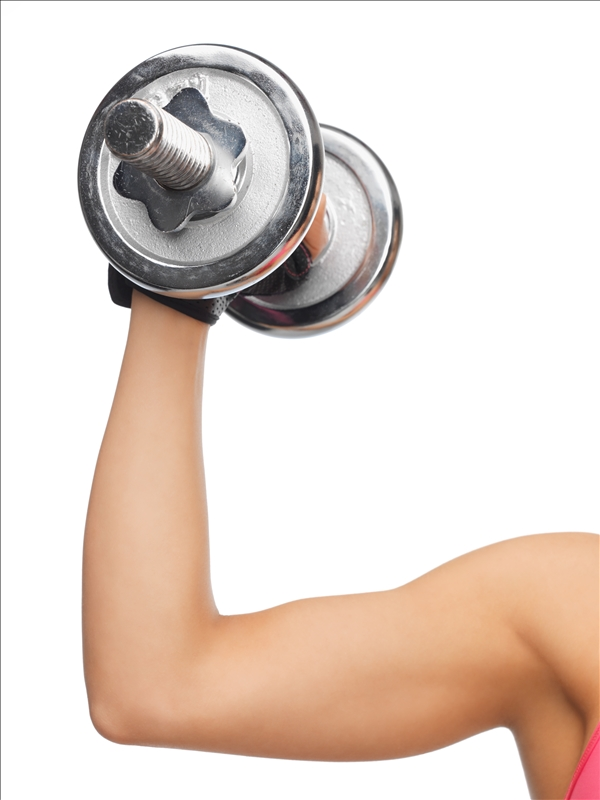 woman with dumbell