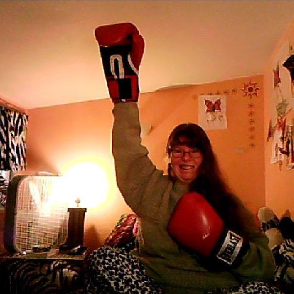 Vanessa with her red gloves