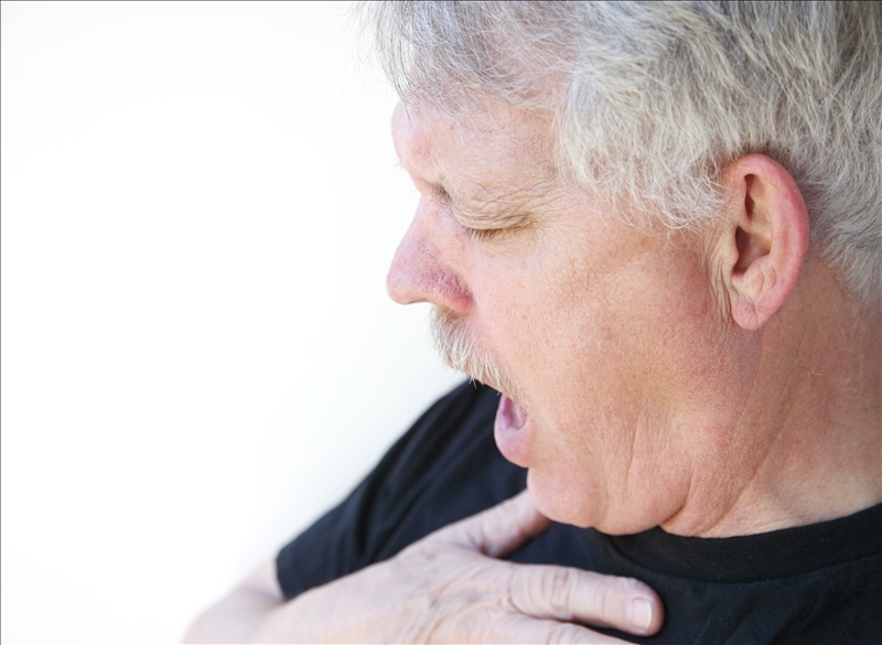 Man gasping for breath