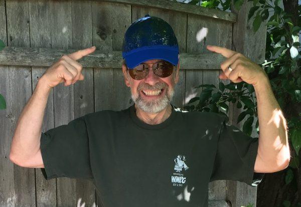 Barry wearing hat to trap deer flies