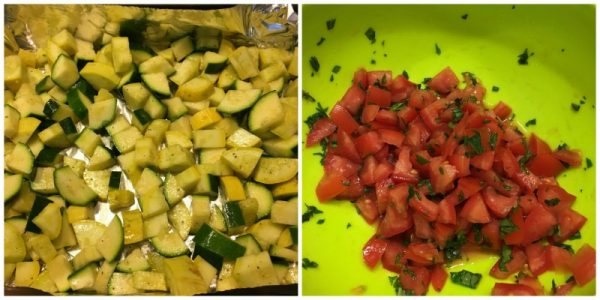 Summer squash, tomatoes and basil