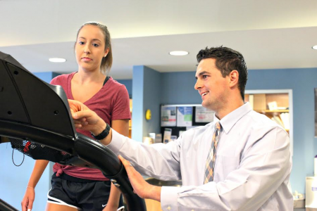 Person with concussion getting physical therapy