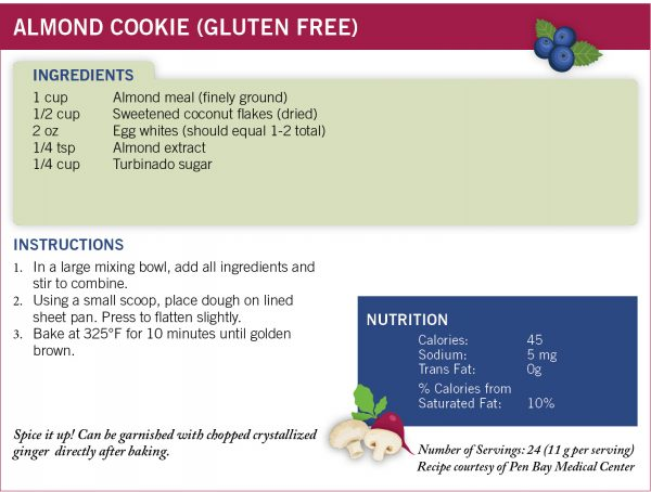 MaineHealth recipe for almond cookies