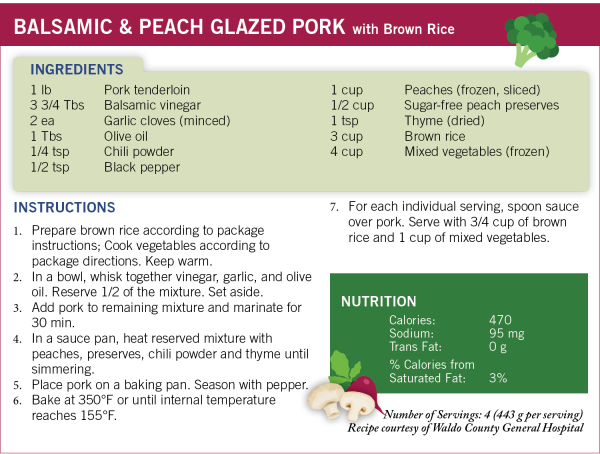 MaineHealth recipe for balsamic-peach-glazed-pork-recipe