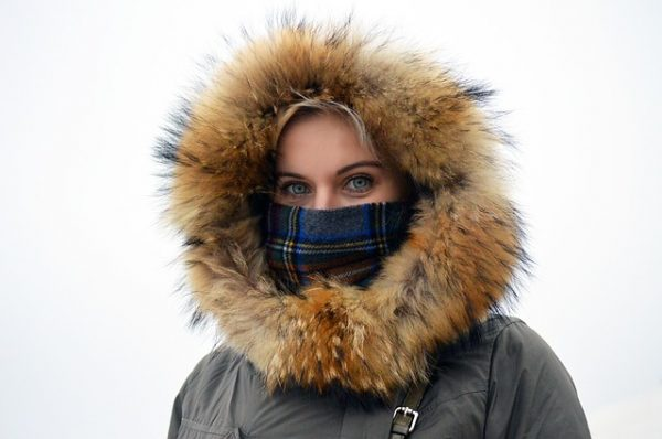Woman in parka, cold weather