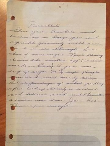 Handwritten recipe for green tomato relish