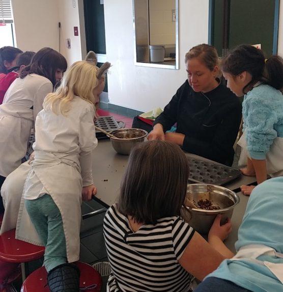Kids cooking in school