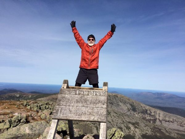 Hiker Carey Kish on Mount Katahdin, the northern end of the Appalachian Trail