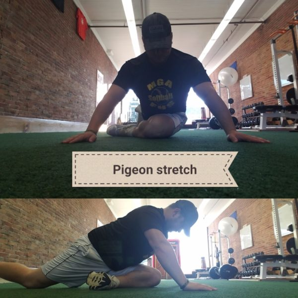 Andy Wight demonstrates pigeon stretch