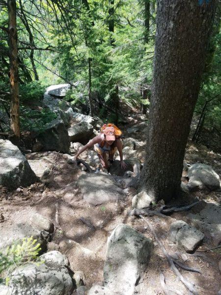 Nicole Petit climbing Tumbledown Mountain