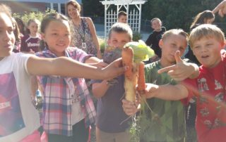 Students picking veggies for their soup