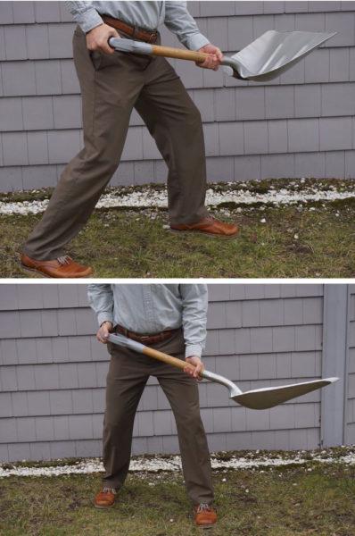 Dr. Andrew deBethune demonstrates shoveling