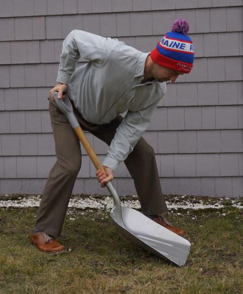 Dr. deBethune shoveling