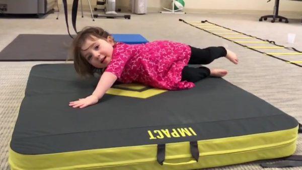 Toddler Ava falling
