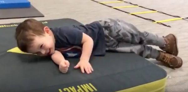 Toddler Owen falling