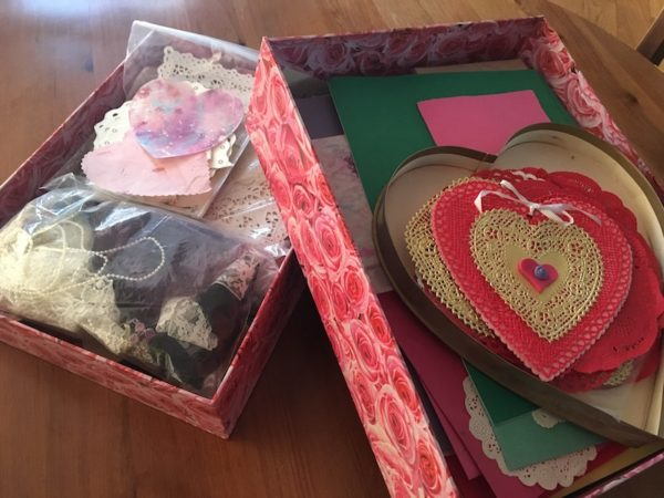 Boxes of Valentine materials