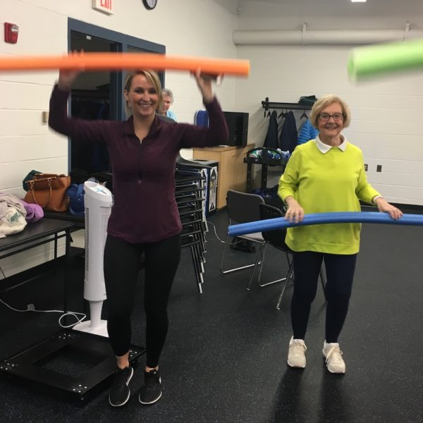 Maureen Harper and granddaughter exercising