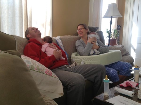 Lindsay Luetje with her husband and newborn twins/public health nursing