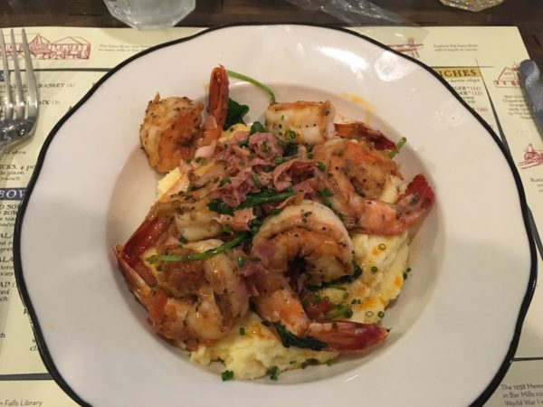 Shrimp with cheddar grits