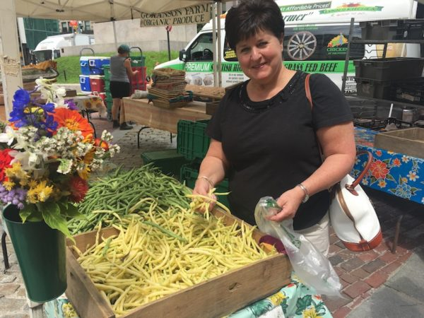 Lisa at the Farmer's Market/string beans