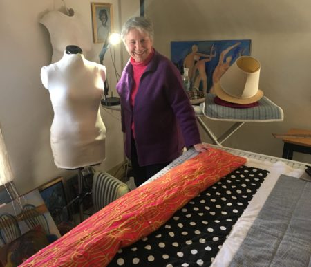Peesh McClanahan in her quilting studio