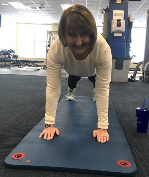 Liz doing a plank