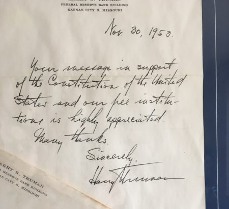 Letter from Harry Truman
