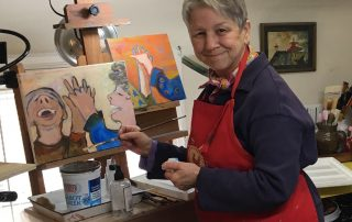 Peesh at her easel, Conversations About Aging