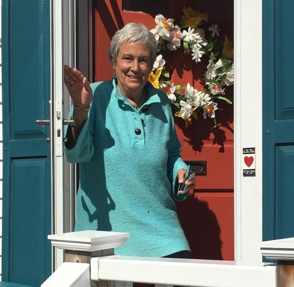 Joy Hare at her front door/Conversations About Aging