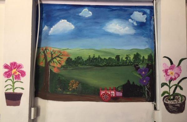 Orchid farm mural
