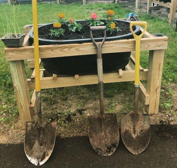 Multigenerational garden in Saco planters