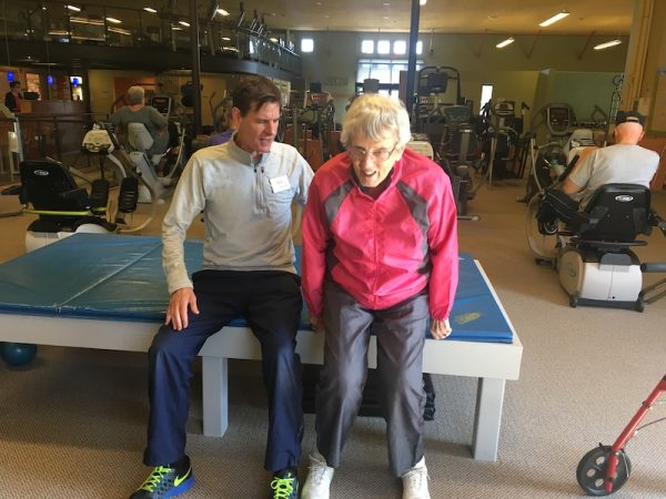Ginny Hoy working out with Peter Allen