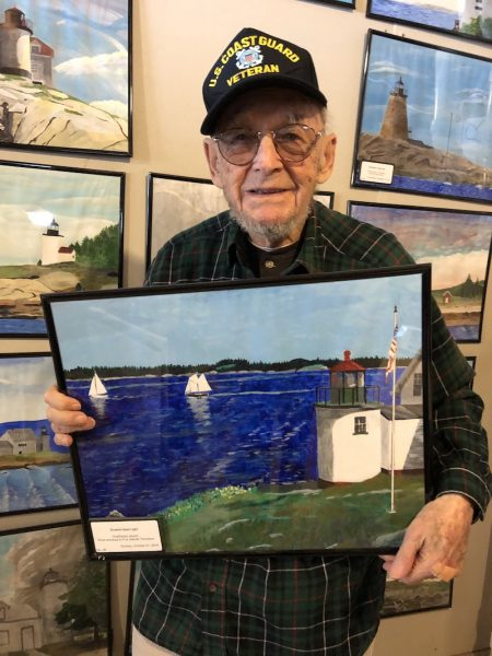 Ernie with painting of Browns Head Light House