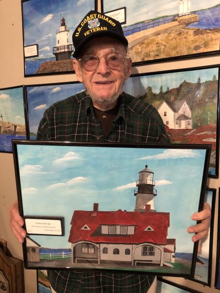 Ernie with painting of Portland Head Light