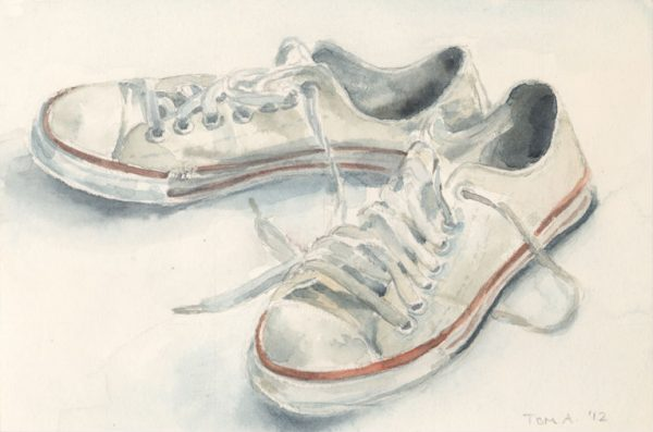 Watercolor of sneakers, Tom Antonik