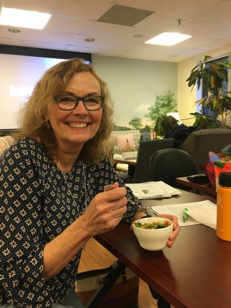 Diane Atwood eating quinoa bowl