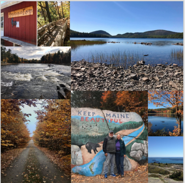 Collage of places Jennifer and Michael Fitzpatrick have visited in Maine.